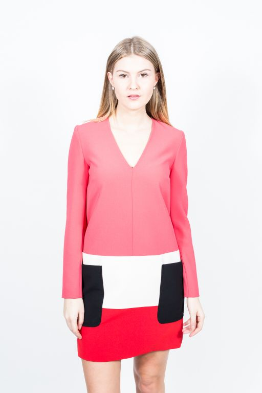 MaxMara - Minikleid im Colour Blocking rot-himbeere