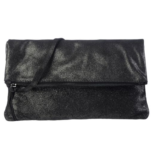 Bling Berlin - Velourleder Clutch Metallic-schwarz