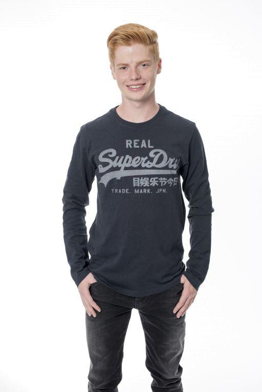 Superdry - Vintage Herren Langarmshirt in washed blue