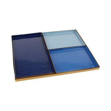 4 teiliges Tablett blau/gold
