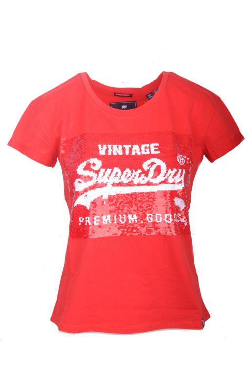 Superdry - Rotes T-Shirt mit Paillettenbesatz