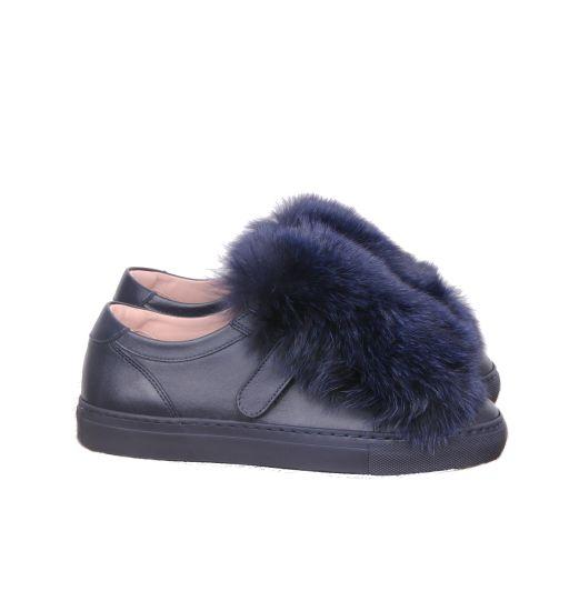 Max Mara - Sneaker mit Fellbesatz blau