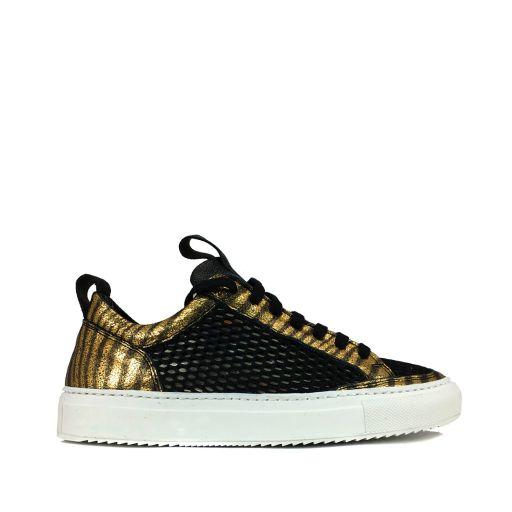 P448 - Sneaker mit Netzeinsatz und Golddetails