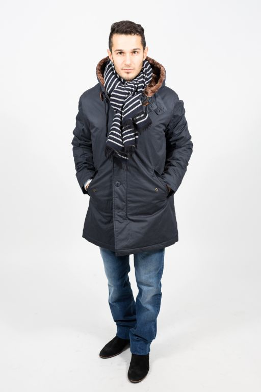 Hartford - Herren Parka mit Fake Fur Pelz blau