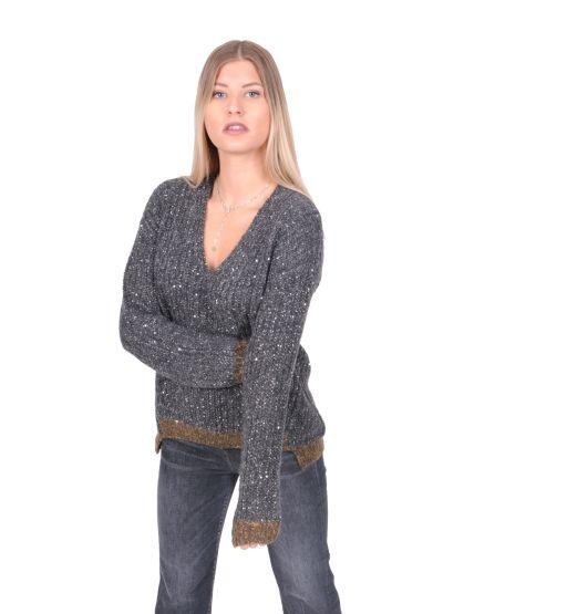 Luisa Cerano - V-Neck Pullover mit Pailletten