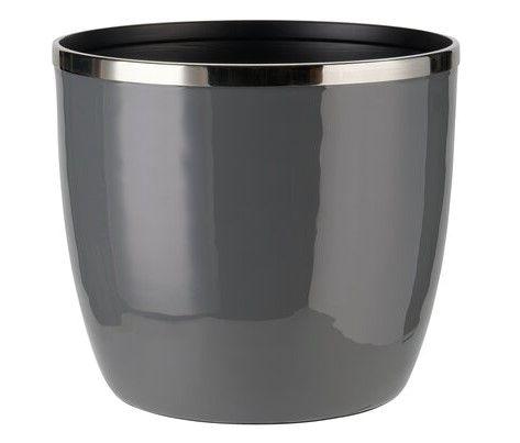 Saignon Übertopf mit Metallring L dunkelgrau/silber