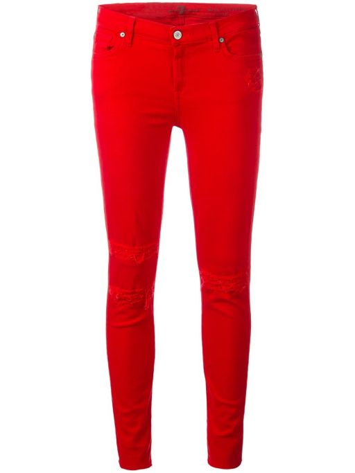 7 For All Mankind - The Skinny Crop Red