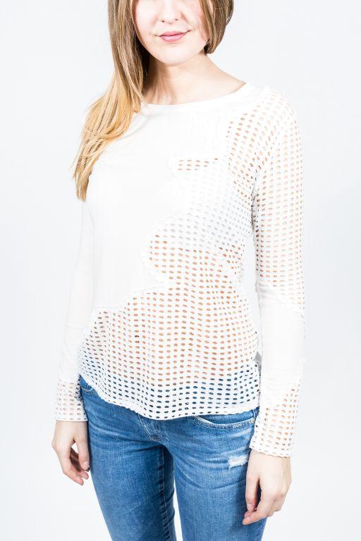 FIGLIA - T-Shirt mit gelöcherter Brusttasche