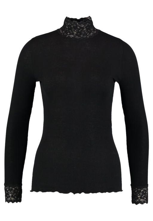 Rosemunde - Langarmshirt mit Spitzenstehkragen black