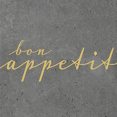 "Serviette ""bon appetit"" grau"