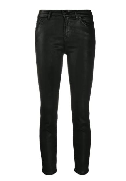 7 For All Mankind - Highwaist Skinny Crop Coated black
