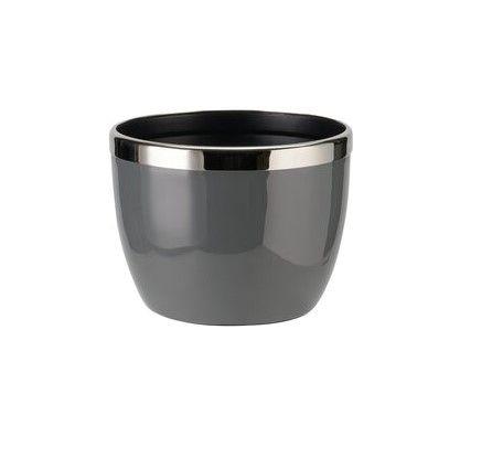 Saignon Übertopf mit Metallring S dunkelgrau/silber