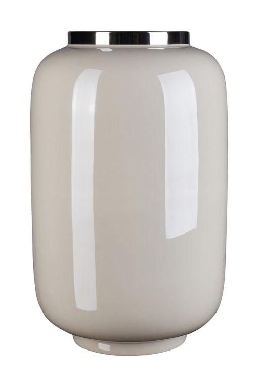 Saignon Vase mit Metallring L sandstone/white