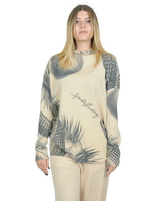 Friendly Hunting - Pullover mit Garten Eden Print beige