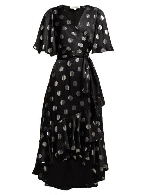 Diane von Furstenberg - Wickelkleid mit großen Silberdots