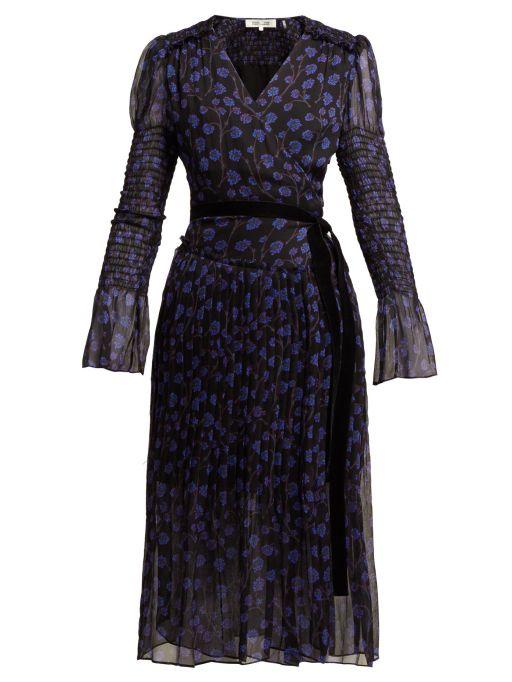 Diane von Furstenberg - Bedrucktes Wickelkleid mit Puffschultern