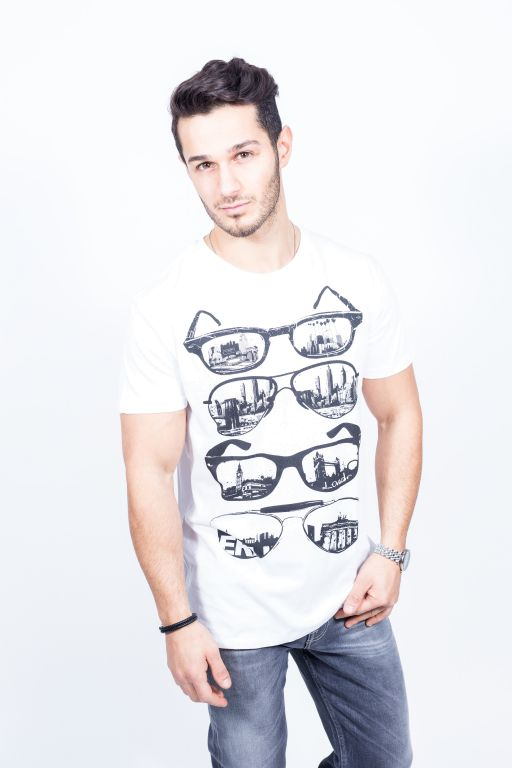 "Happiness - Herren T-Shirt Splendida ""Sunglasses"" weiß"