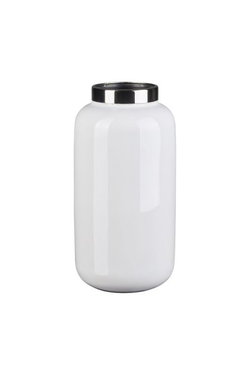 Saigon Vase weiß/silber XS