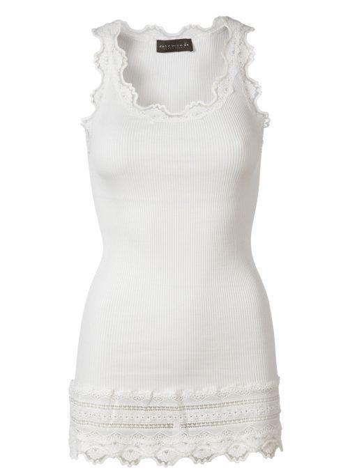 Rosemunde - Top mit breiter Spitze am Saum new white