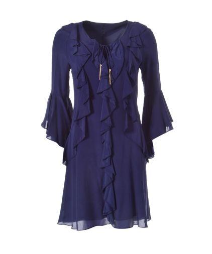 Marc Cain - Feminines Volant Kleid mit Seide blau