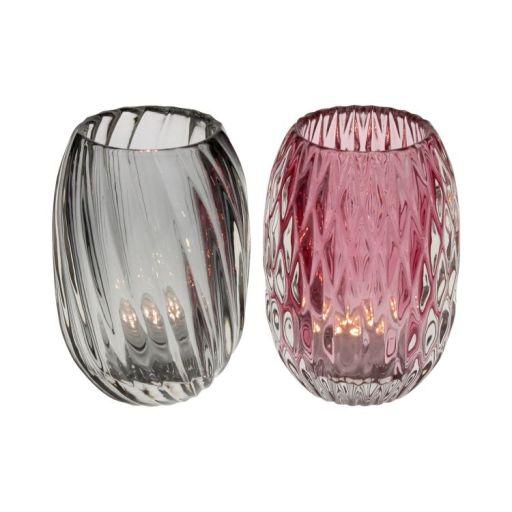 Glaswindlicht rosa/grau