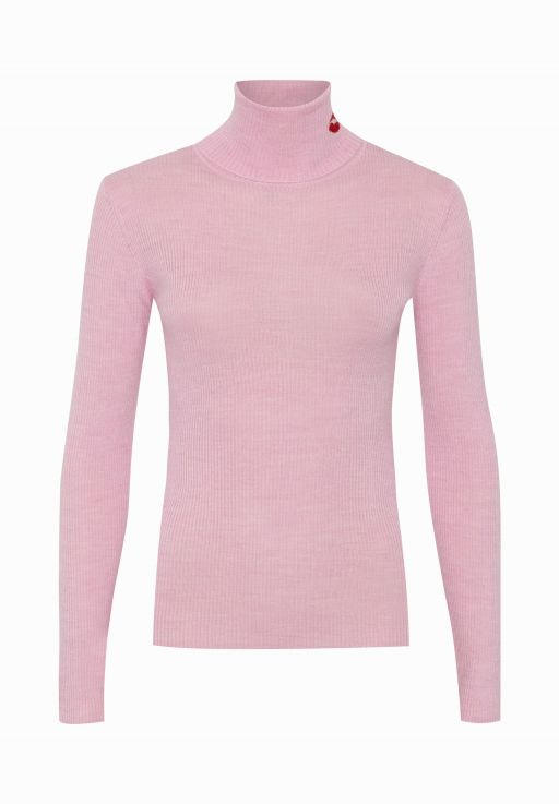 lala Berlin - Rollkragenpullover pink mit Kussmund