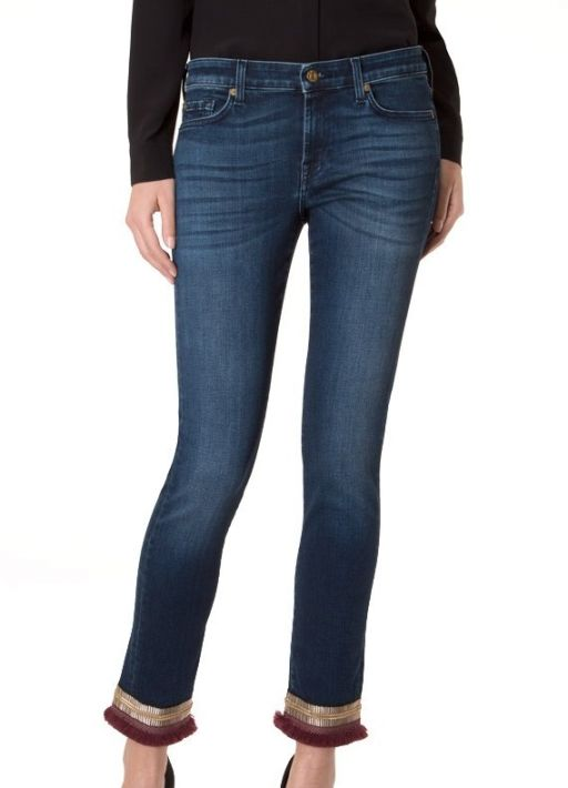 7 For All Mankind - Jeans Pyper Cropped Boho Denim Burgundy