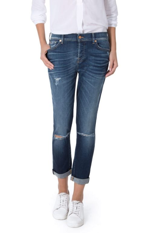 7 For All Mankind - Boyfriend Jeans Josefina Slim Illousion West Indigo Distressed
