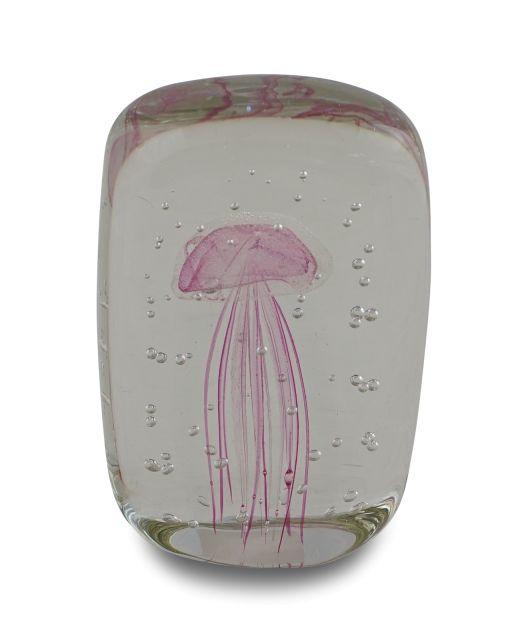 Glasobjekt mit Qualle rosa