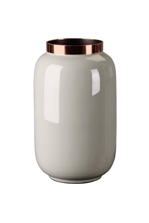 Saigon Vase mit Metallring S hellgrau/ kupfer