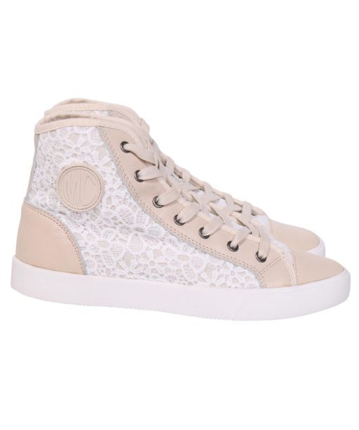 Marc Cain - High Top Sneaker mit Spitzenapplikationen