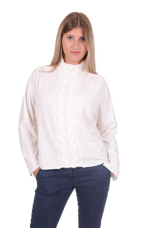 Tabaroni Cashmere - Pullover mit Zopfstrickstreifen