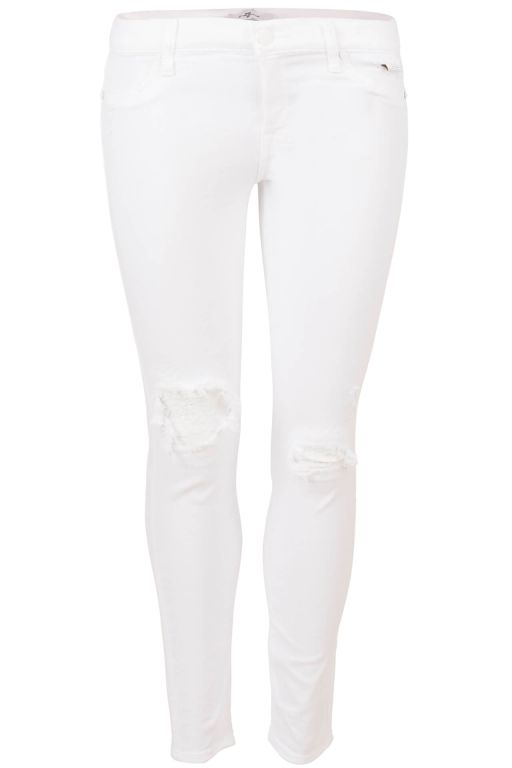 7 For All Mankind - Jeans The Skinny Crop White sequins