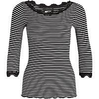 Rosemunde - gestreiftes Shirt mit Spitze schwarz/weiss
