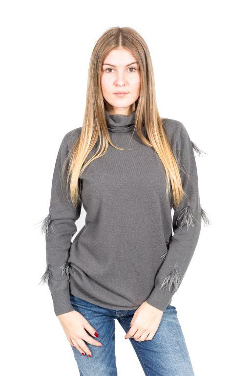 Fabiana Filippi - Rollkragenpullover mit Straußenfedern