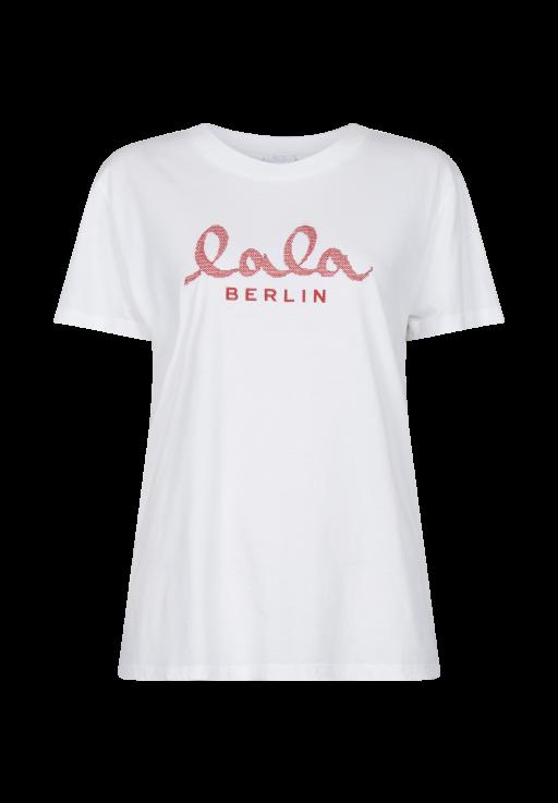lala Berlin - T-Shirt weiß mit roter Logostickerei
