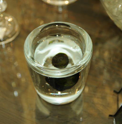 Glas Teelicht Vida in klar mit schwarz/grünem Element