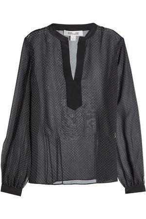 Diane von Fürstenberg - Seiden Bluse mit weißen Punkten