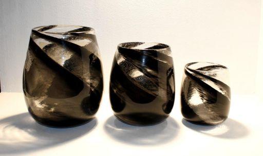 Glas Windlicht 32,5cm black-marble
