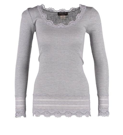 Rosemunde - Langarmshirt mit Spitze am Handgelenk und Saum grau