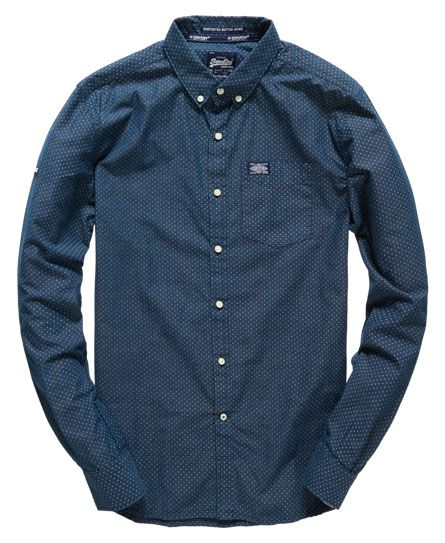 Superdry - Herren Shoreditsch Button Down L/S Shirt Midnight dot
