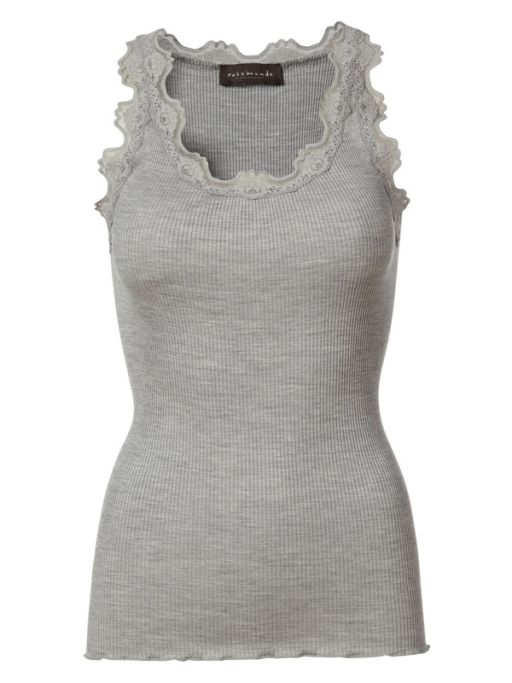 Rosemunde - Top mit Spitze light grey melange