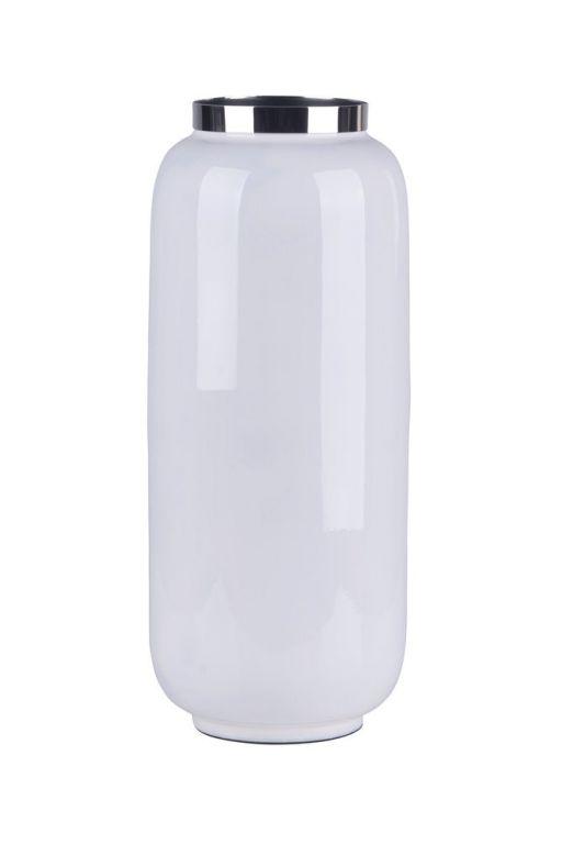 Saigon Vase mit Metallring M weiß/silber