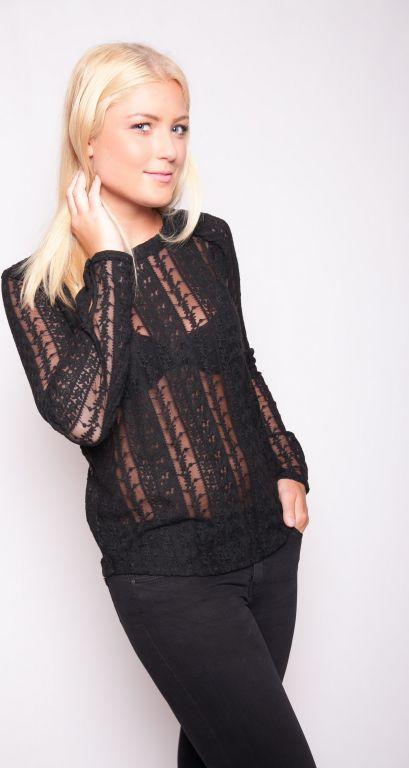 Set - Auffälliges transparentes Spitzen-Shirt in schwarz