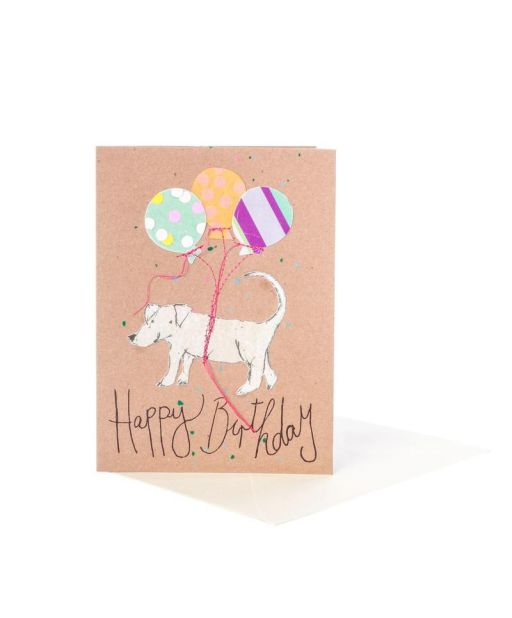 Geburtstagskarte Hund mit Luftballon