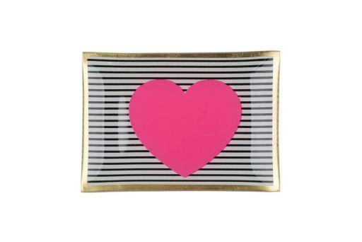 Glasteller Herz pink