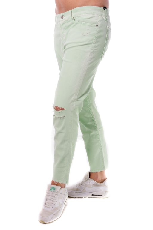 7 For All Mankinds - Josie Crop Jeans pastel green im Boyfriend Style