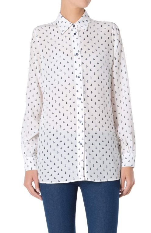 7 For All Mankind - Maritime Bluse aus Seide Shirt Ancor Print weiß