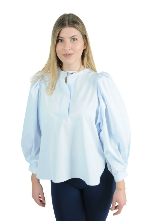 Eva Mann - Kurze Bluse mit Puffärmel