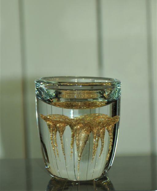 Glas Teelicht Vida in klar mit amberfarbener Koralle